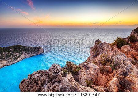 Shipwreck beach at sunset on Zakynthos Island, Greece