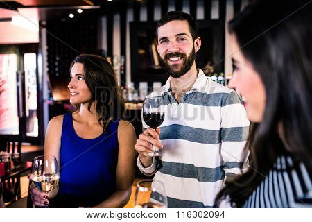 Friends having a glass of wine in a bar