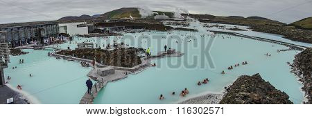 Blue Lagoon, Iceland - Mar 08: People Bathing In The Blue Lagoon, A Geothermal Bath Resort In The So