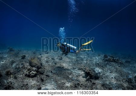 Lady diver swimming underwater over the sea desert, over the coral reef's remains
