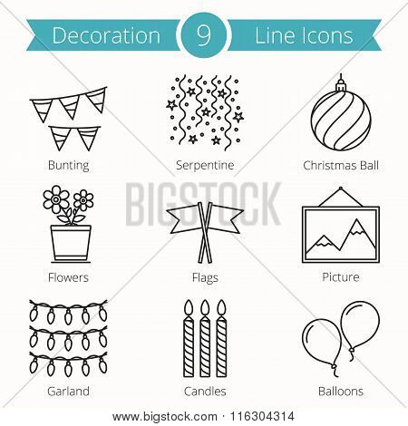 Decoraion Objects Line Icons