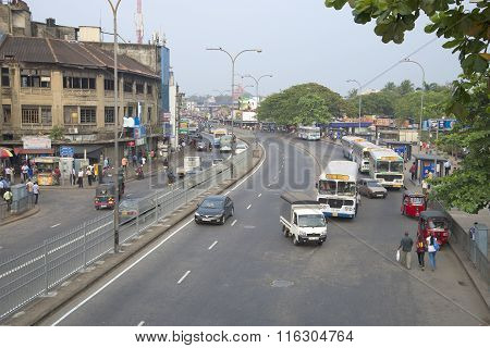 The street near the railway station. Colombo, Sri Lanka