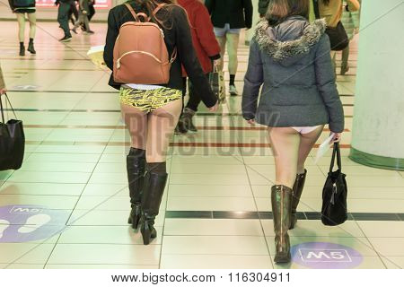 People Taking Part In The No Pants Subway Ride In Milan, Italy