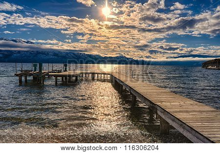 Dock On Okanagan Lake Kelowna British Columbia Canada