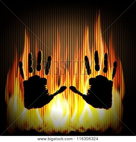 Hand On The Background Of Fire