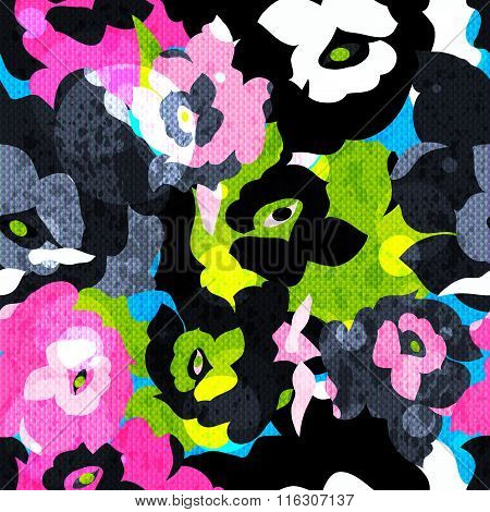 Abstract Psychedelic Background Color Roses Seamless Pattern