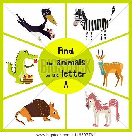 Funny Learning Maze Game, Find All 3 Cute Animals With The Letter A, Alligator, Antelope, Armadillo.