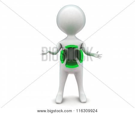 3D Man With Circular Arrow Projected From Body Concept