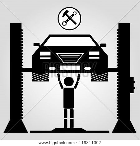 Car On A Jack And A Man Monochrome Symbol On White Background