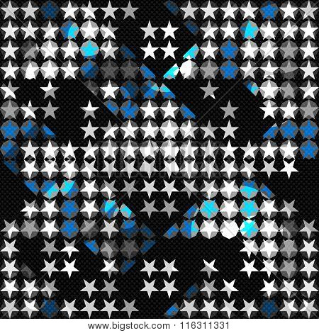 Colored Little Stars On A Black Background Seamless Geometric Background