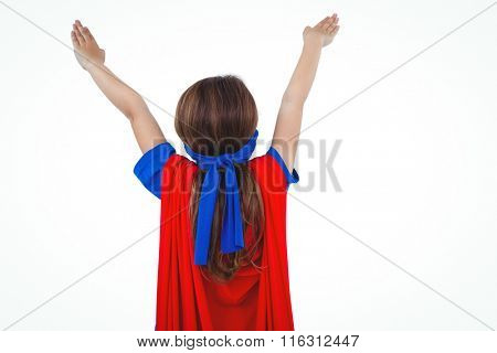 Rear view of masked girl pretending to be superhero on white screen