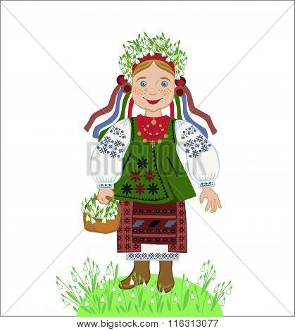 Ukrainian Girl Collects Snowdrops
