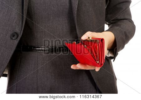 Businesswoman with empty wallet.