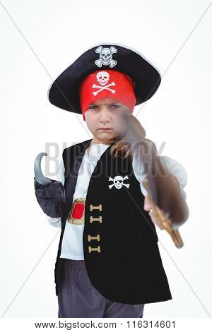 Masked girl wielding sword pretending to be pirate on white screen