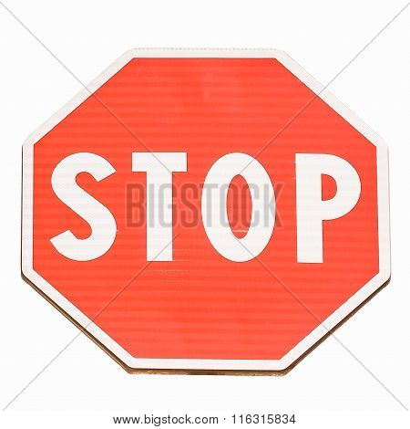 Stop Sign Isolated Vintage