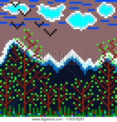 Pixels Mountain And Forest Vector Illustration