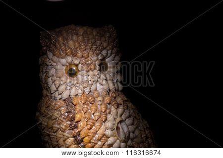 owl figurine made of shells