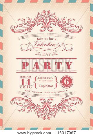 Valentine Day Card Party Invitation With Vintage Frame And Airmail Border