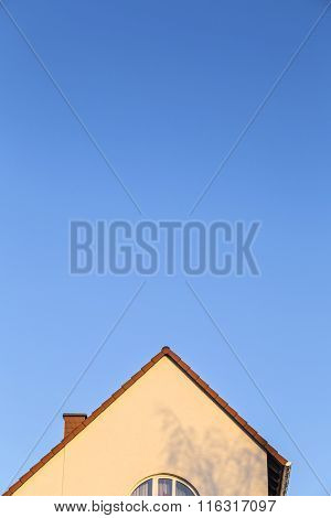 House Facade With Gable And Roof Pattern