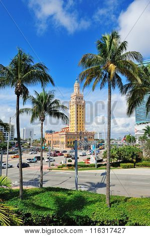 MIAMI, FL - FEB 7: Freedom Tower on street on February 7, 2012 in Miami, Florida. As a memorial to Cuban immigration and Miami city landmark, it is declared as US National Historic Landmark in 2008.