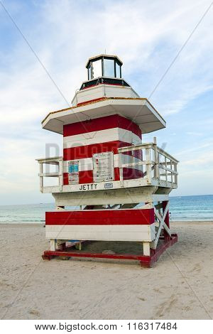Lifeguards Outpost Tower In South Beach, Miami