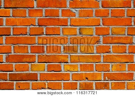 harmonic wall pattern of bricks in intensive red color