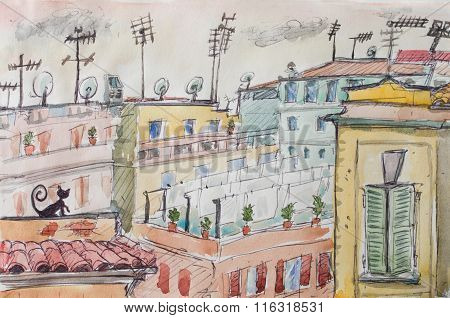 Italian Roofs Watercolor Illustration