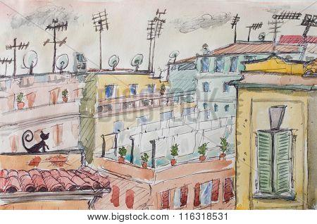 Italian Roofs Watercolor Illustration