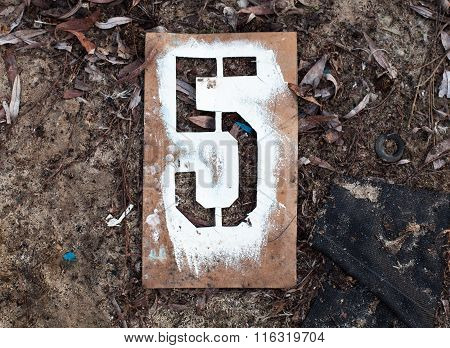 Number Five On The Old Metal Stencil