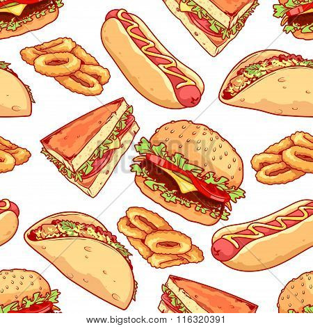 Seamless Pattern Of Burgers, Sandwiches, Tacos, Hot Dogs And Onion Rings.