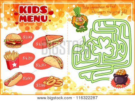 Kids Menu For Fast-food With Maze Game.