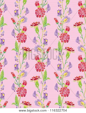 Seamless Pattern With Realistic Graphic Flowers - Clove And Sweet Pea - Hand Drawn Background.