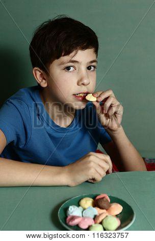 Preteen Handsome Boy With Macaron Cookies