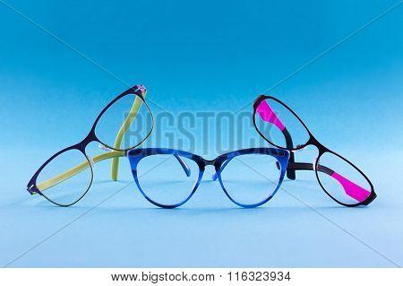 Three pair glasses blue