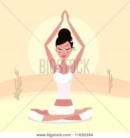 Sunset yoga : relaxing retro woman doing lotus flower yoga asana