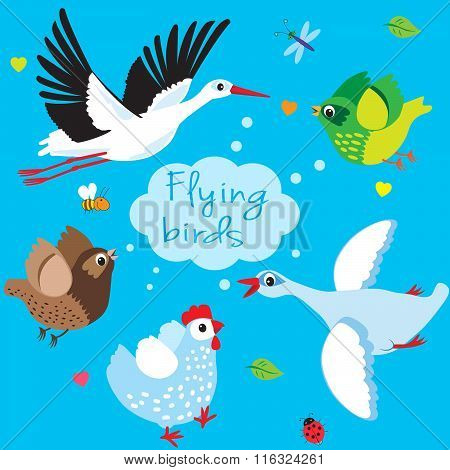 Flying Birds. Cartoon Vector Illustration. Flying In The Sky Stork, Duck, Swan, Sparrow And Chicken. Flying Birds In The Sky.