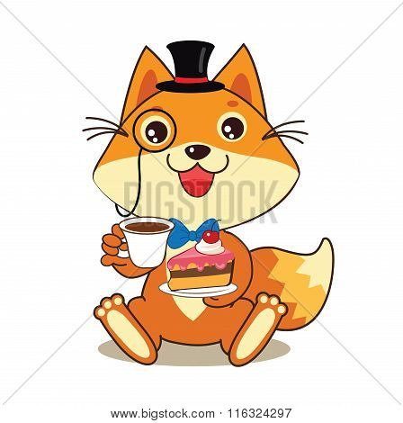 Funny Cat In Bowler Hat And Monocle, And Cake In His Hands. Vector Cartoon Animals Illustration. Funny Cat Memes. Funny Cat Jokes. Funny Cat Gourmet. Funny Cat Poster. Funny Cat Stuff.