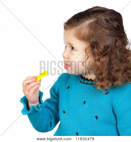 Adorable Baby Girl Eating Sweets