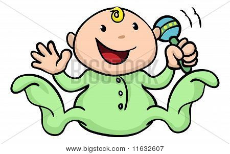 Happy Cute Baby Playing With Rattle