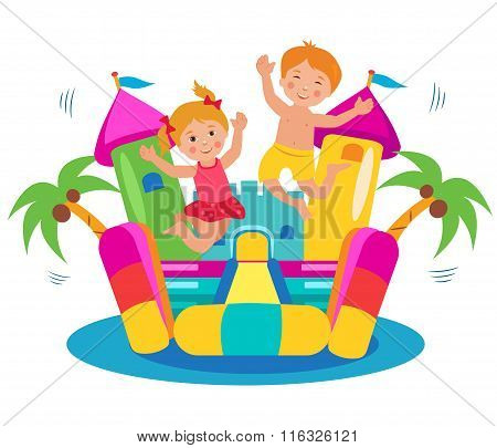 Jumping Kids And Dog And Bouncy Castle Set. Cartoon Illustrations On A White Background. Bouncy Castle Rental. Bouncy Castle For Sale. Bouncy Castle Commercial. Bouncy Castle For Kids. Castle Fun.