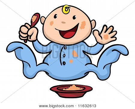 Happy Cute Weaning Baby Playing With Food