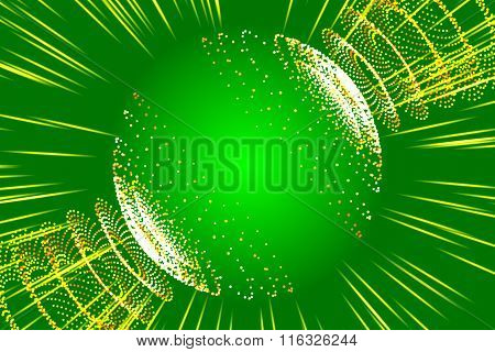 Green Abstract Background, Ray And Particle