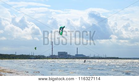 Kitesurfers Ride The Waves Of The Gulf Of Finland