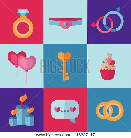 Holiday stylish Valentine's Day linear icons