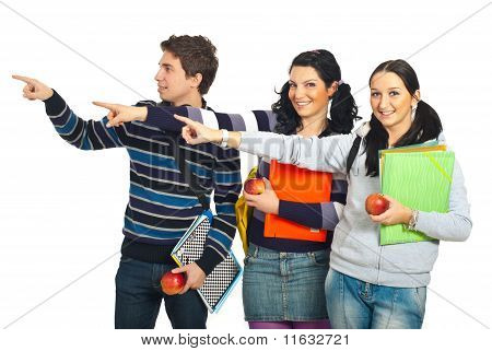 Group Of Students Pointing To Copy