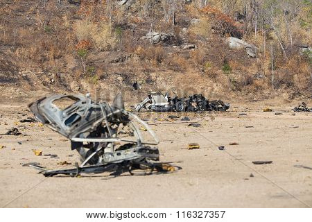 Car Bomb and car wreck with parts