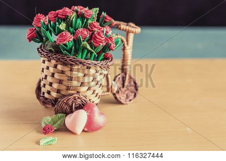 Hearts And Flowerpot With Vintage Style.