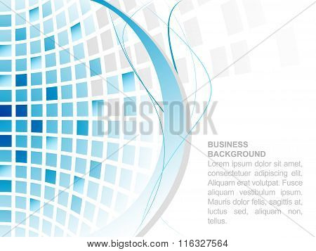 Blue abstract square mosaic business background.