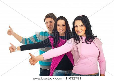 Line Of Happy Casual People Give Thumbs