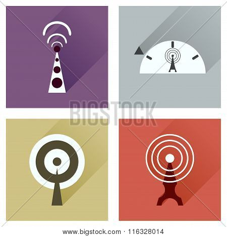 Concept of flat icons with long shadow Wi fi modem